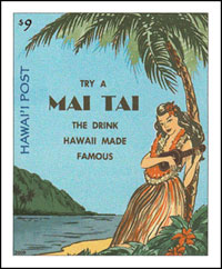 The 9 Minisheet Above Prepays Same Day Rate Image Is A Colorized Drawing Of An Advertising Label From 1950s Promoting Sale Mai Tais